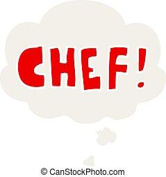 cozinheiro, estilo, palavra, pensamento, retro, bolha, caricatura