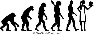 cozinheiro, evolução, massa, femininas