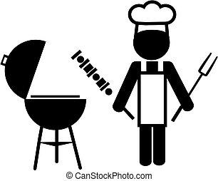 cozinheiro, fazer, bbq, ilustração, -2