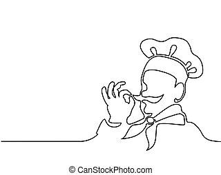 cozinheiro, fazer, gostoso, gostosa, gesto