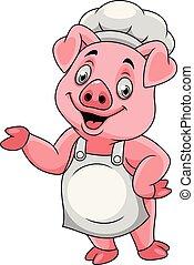 cozinheiro, feliz, apresentando, caricatura, porca