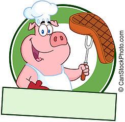 cozinheiro, feliz, bife, segurando, porca