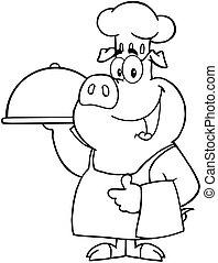 cozinheiro, feliz, platter, segurando, porca