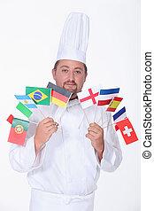 cozinheiro, flags., segurando, grupo