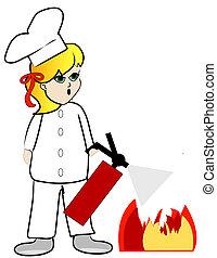 cozinheiro, fogo, saída, pôr, cozinha