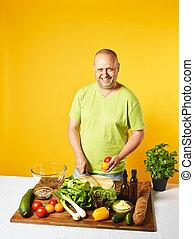 cozinheiro, fresco, middle-aged, salada, homem