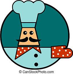 cozinheiro, fundo, ilustração, caricatura, branca