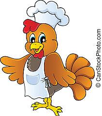 cozinheiro, galinha, caricatura