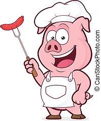 cozinheiro, garfo, linguiça, segurando, porca