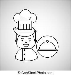 cozinheiro, gourmet, bandeja, alimento, caricatura