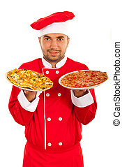 cozinheiro, homem, com, pratos, com, pizza