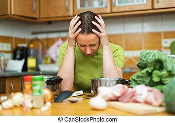cozinheiro, infeliz, femininas, cansadas