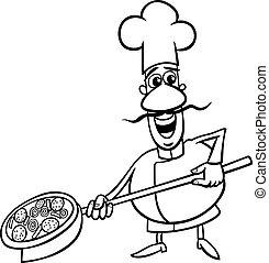 cozinheiro, italiano, coloração, caricatura, página