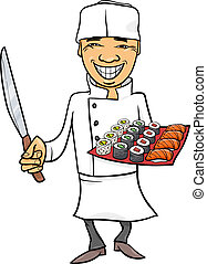 cozinheiro, japão, sushi, caricatura, ilustração