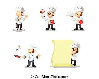 cozinheiro, jogo, macaco, caricatura