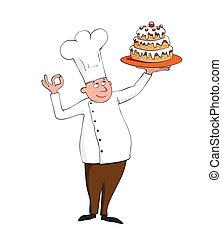 cozinheiro, jovem, bolo, branca