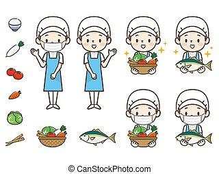 cozinheiro, jovem, ilustração, mulher, jogo