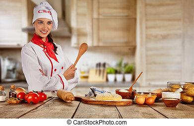 cozinheiro jovem, mulher, fogão, pronto, para, preparação...