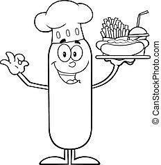 cozinheiro, linguiça, pretas, branca, feliz