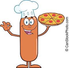 cozinheiro, linguiça, segurando pizza