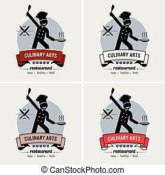 cozinheiro, logotipo, restaurante, design.