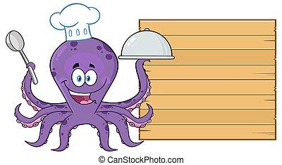 cozinheiro, madeira, alimento, placa serving, caricatura, polvo, personagem, em branco