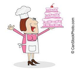 cozinheiro, massa, femininas, bolo