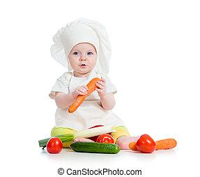 cozinheiro, menina bebê, comer, alimento saudável, isolado,...