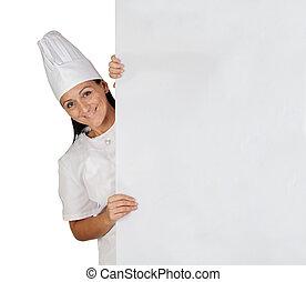 cozinheiro, menina, bonito, uniforme