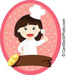 cozinheiro, menina, illustrator