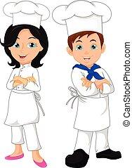 cozinheiro, menino, menina, caricatura