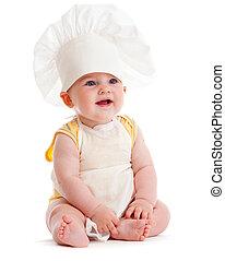cozinheiro, menino, pequeno, chapéu, isolado