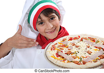 cozinheiro, Menino,  pizza, jovem, vestido