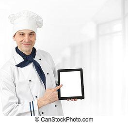 cozinheiro, menu, apresentando