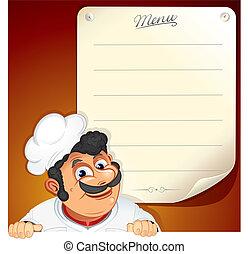 cozinheiro, menu, em branco