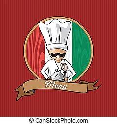 cozinheiro, menu, italiano, desenho, restaurante