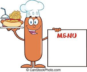 cozinheiro, menu, linguiça, tábua, logo