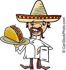 cozinheiro, mexicano, caricatura, ilustração, taco