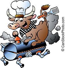 cozinheiro, montando, barril, bbq, vaca