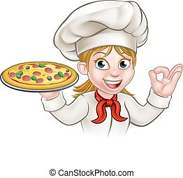 cozinheiro, mulher, caricatura, pizza