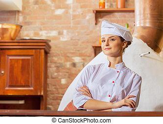 cozinheiro, mulher, jovem