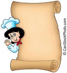 cozinheiro, mulher, pergaminho, espreitando