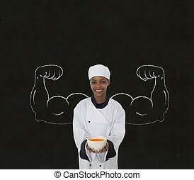 cozinheiro, mulher, saudável, quadro-negro, braços, giz, ...