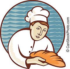 cozinheiro, pão, pão, padeiro, retro