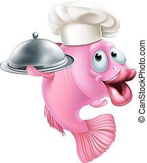 cozinheiro, peixe, caricatura, mascote