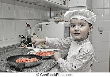 cozinheiro, pequeno, trabalhando