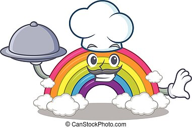 cozinheiro, personagem, arco íris, bandeja, alimento, caricatura, servindo