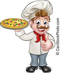 cozinheiro, personagem, caricatura, pizza