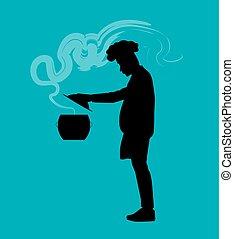 cozinheiro, pessoa, vetorial, ilustração