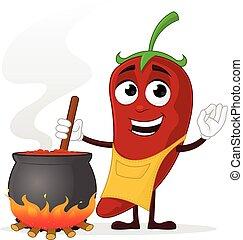cozinheiro, pimentão